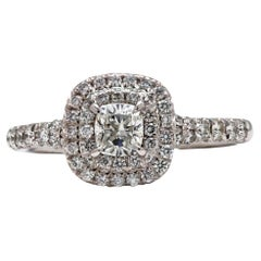 Tiffany Soleste Cushion Cut Double Halo Platinum Diamond Engagement Ring