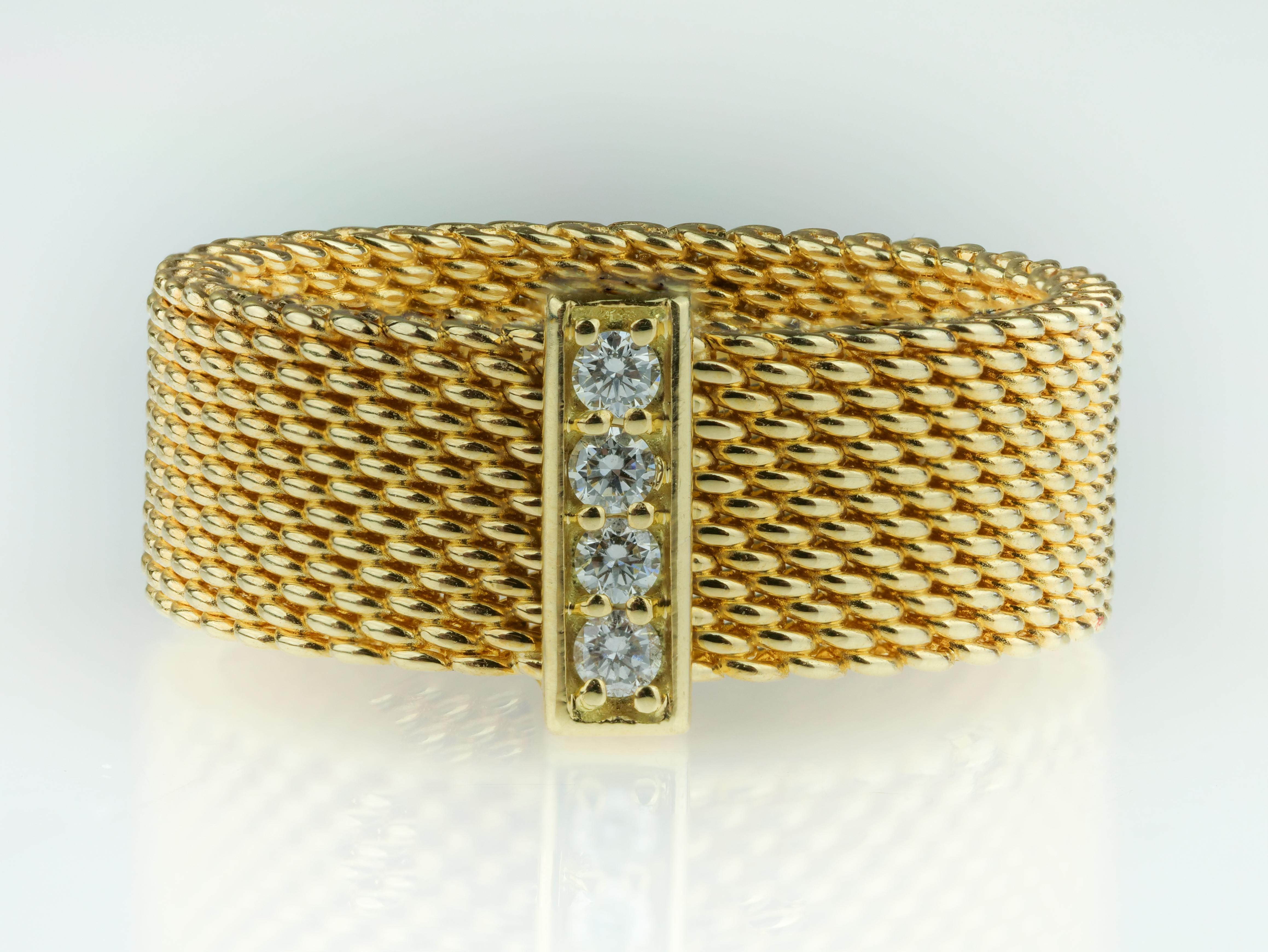 8c09087ce Tiffany and Co. Somerset 18 Carat Gold Mesh Round Brilliant Diamond Wide  Band Ring For Sale at 1stdibs
