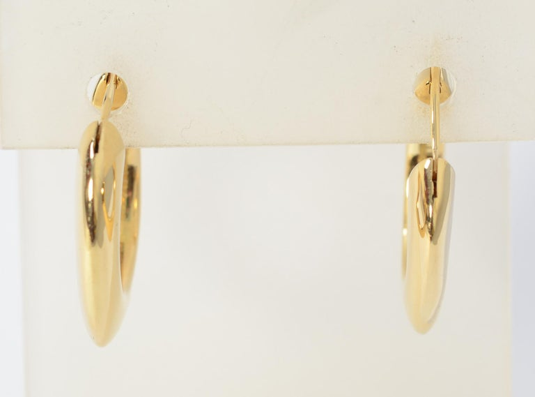 Contemporary Tiffany & Co. Square Hoop Gold Earrings For Sale