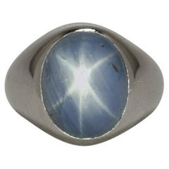 Tiffany Star Sapphire Men's Ring 26 Ct Mid Century Platinum Blue Cabochon Dome