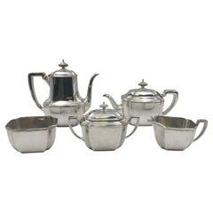 Tiffany Sterling Silver 1912 5-Piece Tea Coffee Set in Hampton Pattern Art Deco