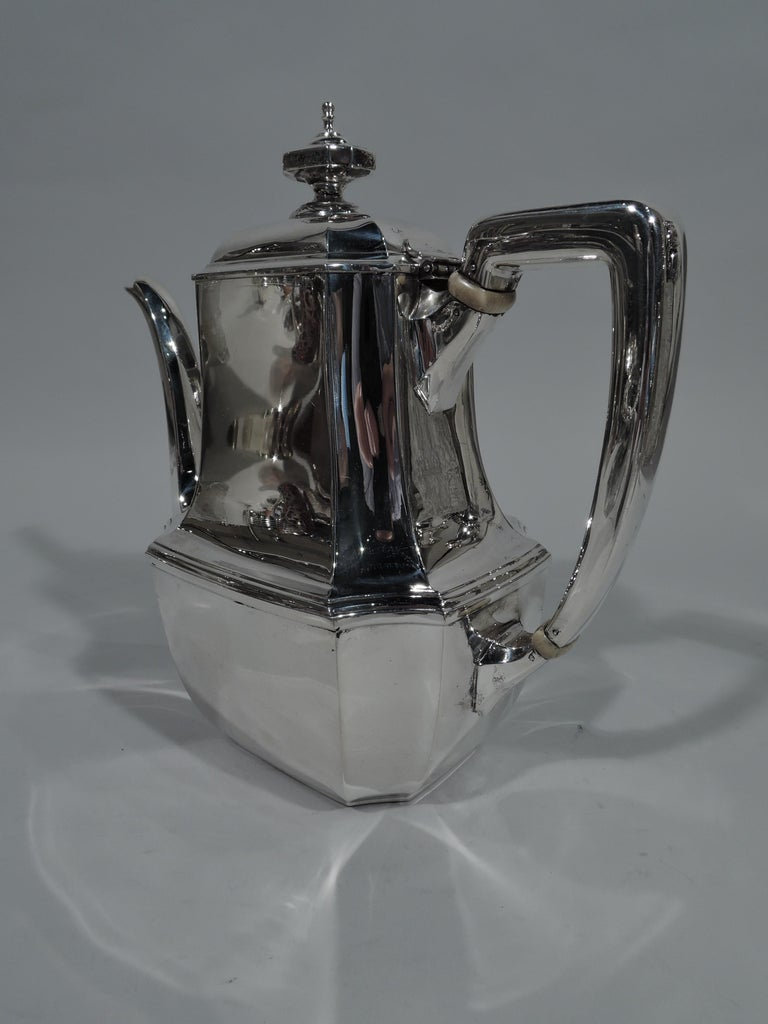 Art Deco Tiffany Sterling Silver Coffeepot in Desirable Hampton Pattern For Sale
