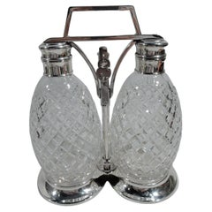 Tiffany Sterling Silver Decanter Set with Hawkes Glass Bottles