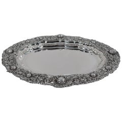 Tiffany Sterling Silver Serving Platter Tray in Desirable Chrysanthemum
