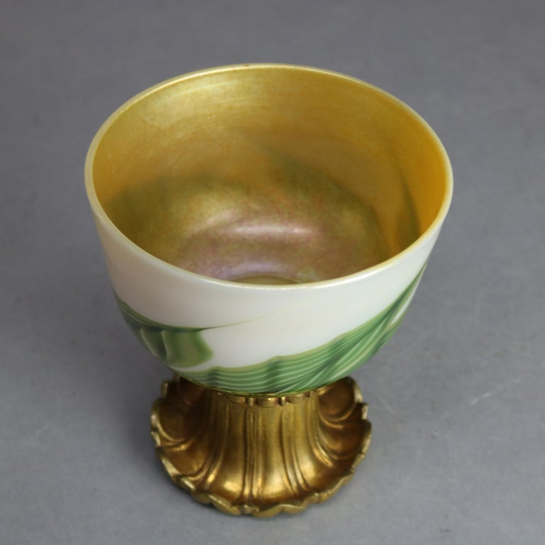Tiffany Studio Favrile Pulled Feather Art Glass & Gilt Bronze Chalice circa 1890 For Sale 2