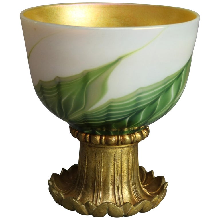 Tiffany Studio Favrile Pulled Feather Art Glass & Gilt Bronze Chalice circa 1890 For Sale