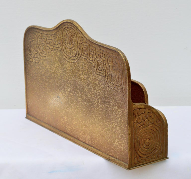 Early 20th Century Tiffany Studio Zodiac Series Gilt Bronze Letter Holder For Sale