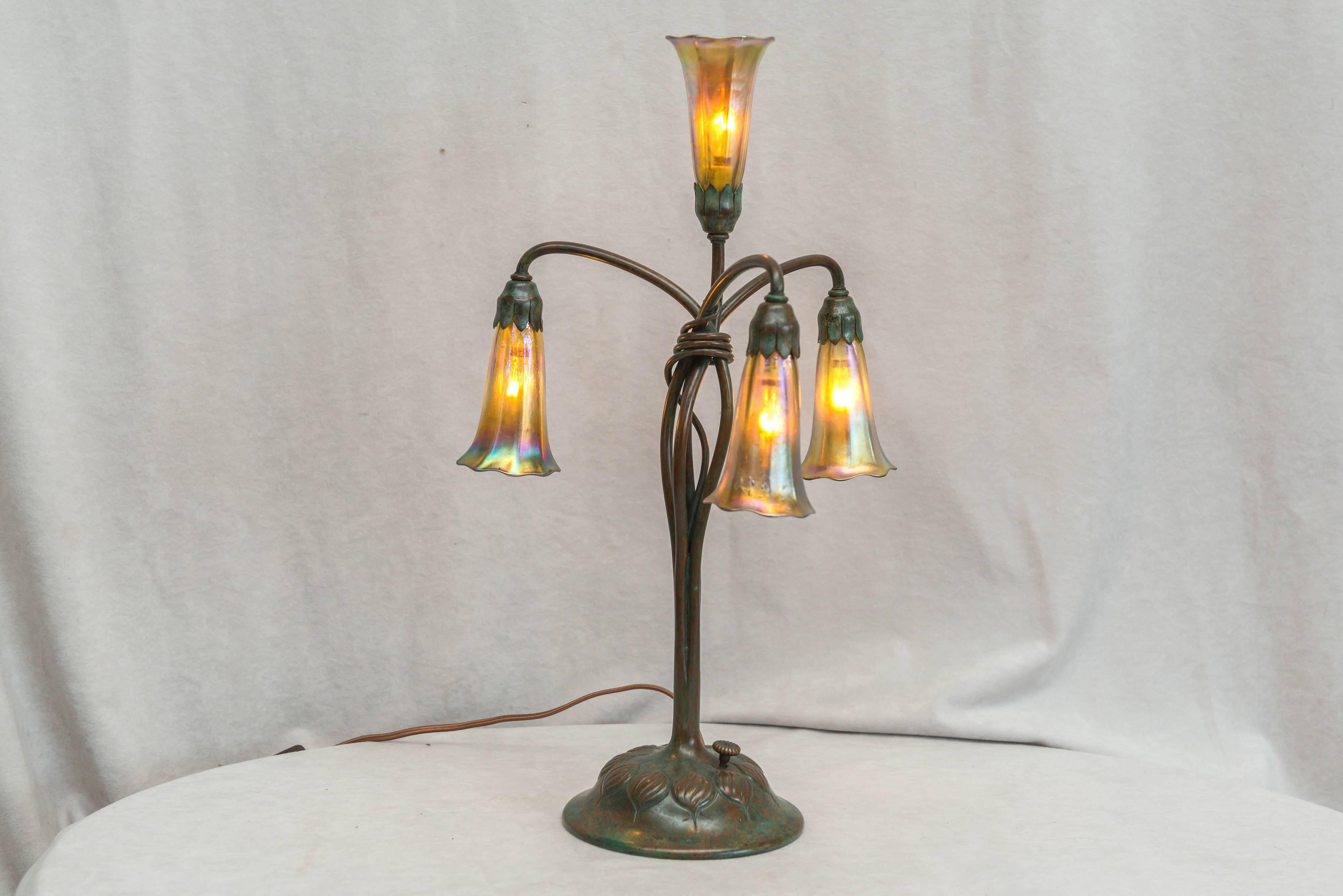 Art Nouveau Tiffany Studios Four Light Lily Table Lamp For Sale