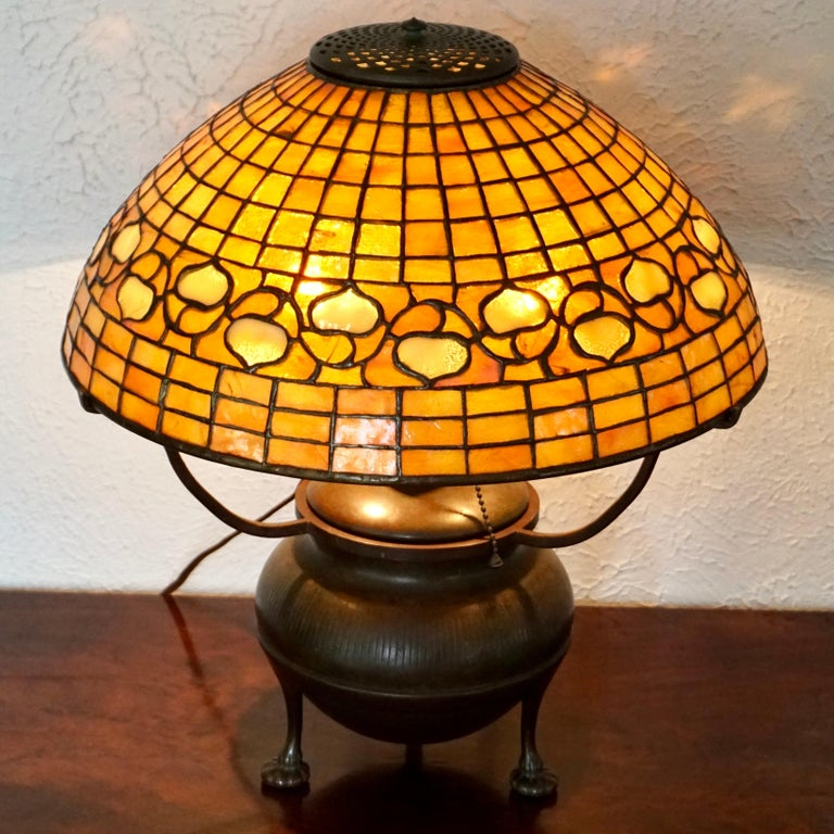 Cast Tiffany Studios Acorn Table Lamp