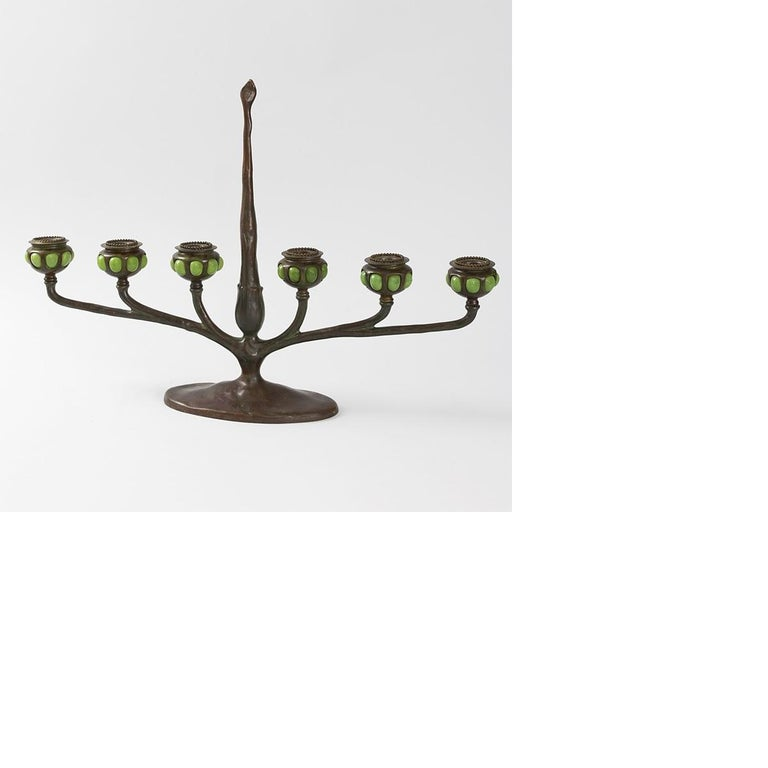 Tiffany Studios Art Nouveau Bronze and Favrile Glass Table