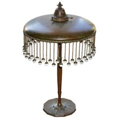Tiffany Studios Bronze With Hanging Favrile Beads Table Lamp