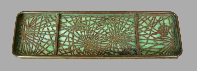 Tiffany Studios Bronze and Glass Pine Needle Pattern 6 Piece Desk Set For Sale 4