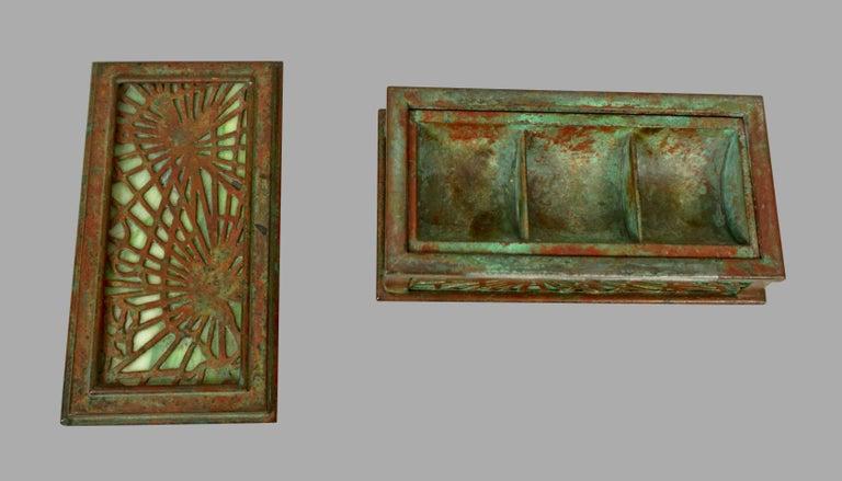 Tiffany Studios Bronze and Glass Pine Needle Pattern 6 Piece Desk Set For Sale 7