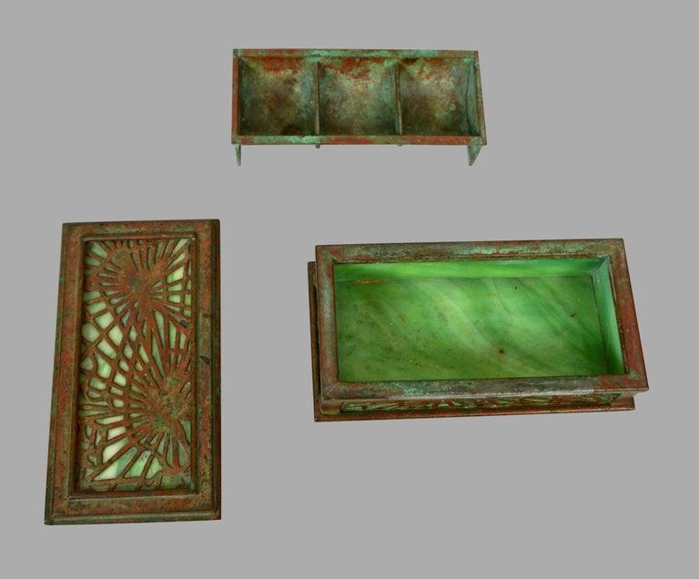 Tiffany Studios Bronze and Glass Pine Needle Pattern 6 Piece Desk Set For Sale 8