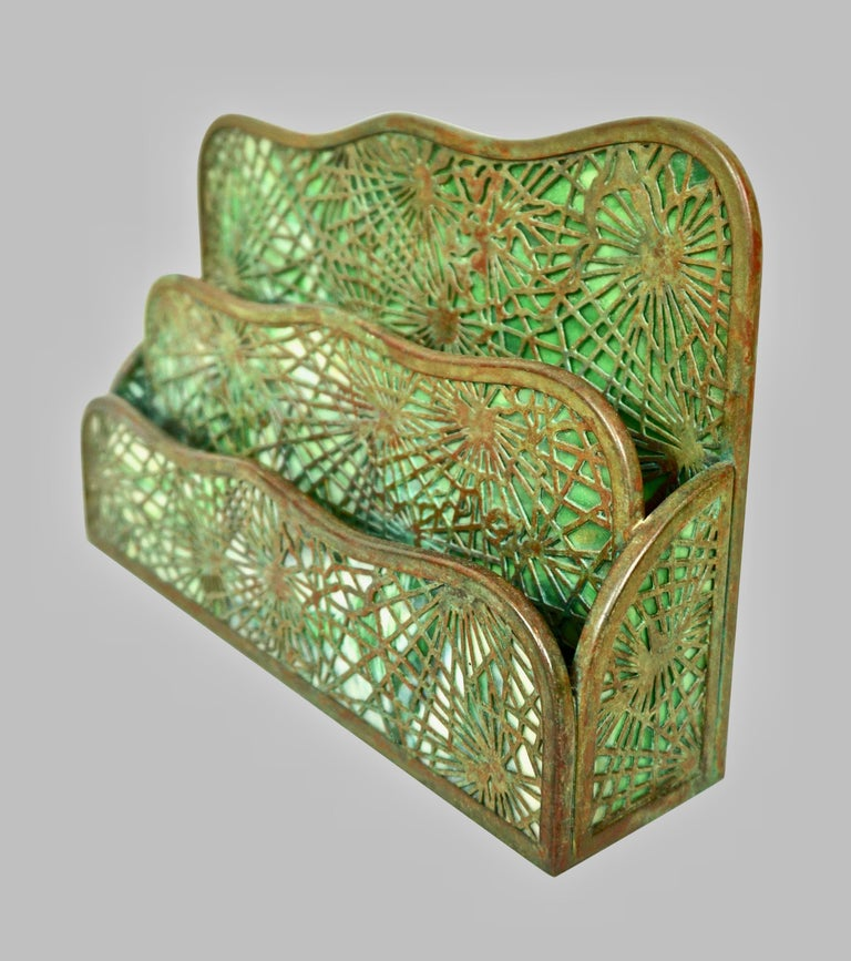 American Tiffany Studios Bronze and Glass Pine Needle Pattern 6 Piece Desk Set For Sale