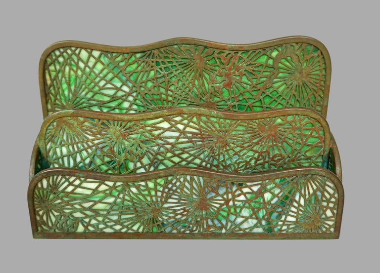 Tiffany Studios Bronze and Glass Pine Needle Pattern 6 Piece Desk Set In Good Condition For Sale In San Francisco, CA
