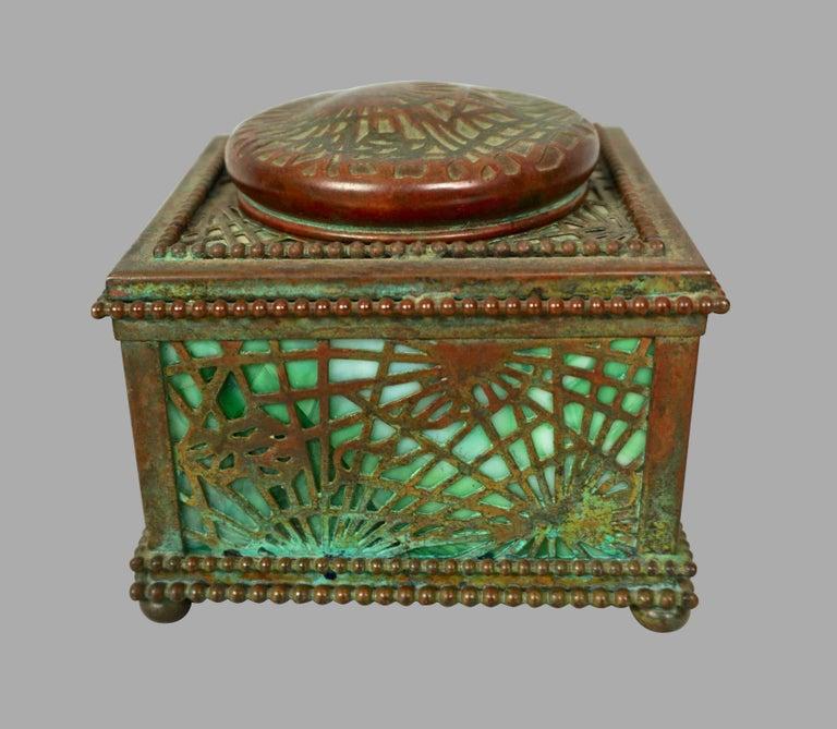 Tiffany Studios Bronze and Glass Pine Needle Pattern 6 Piece Desk Set For Sale 1