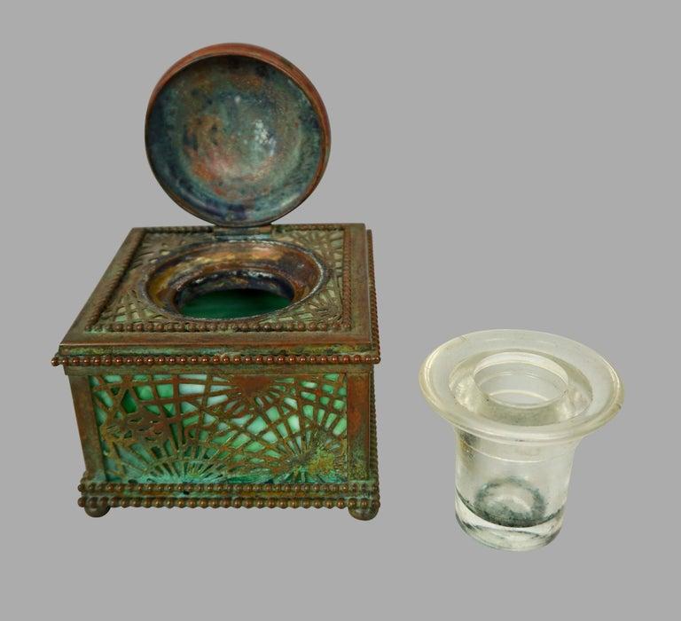 Tiffany Studios Bronze and Glass Pine Needle Pattern 6 Piece Desk Set For Sale 3