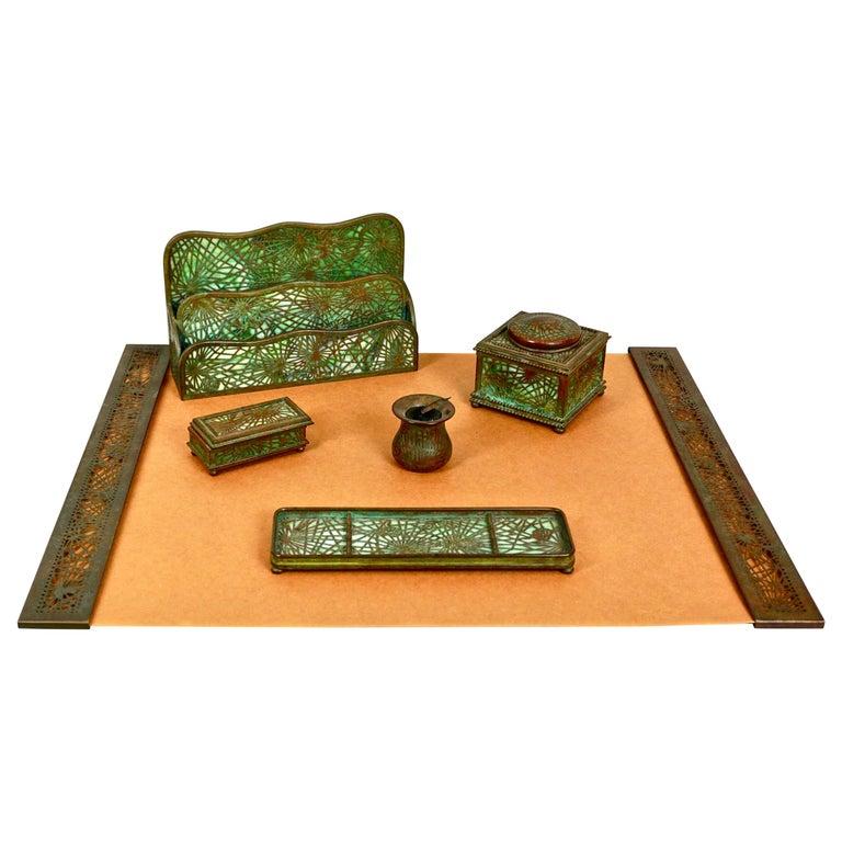 Tiffany Studios Bronze and Glass Pine Needle Pattern 6 Piece Desk Set For Sale