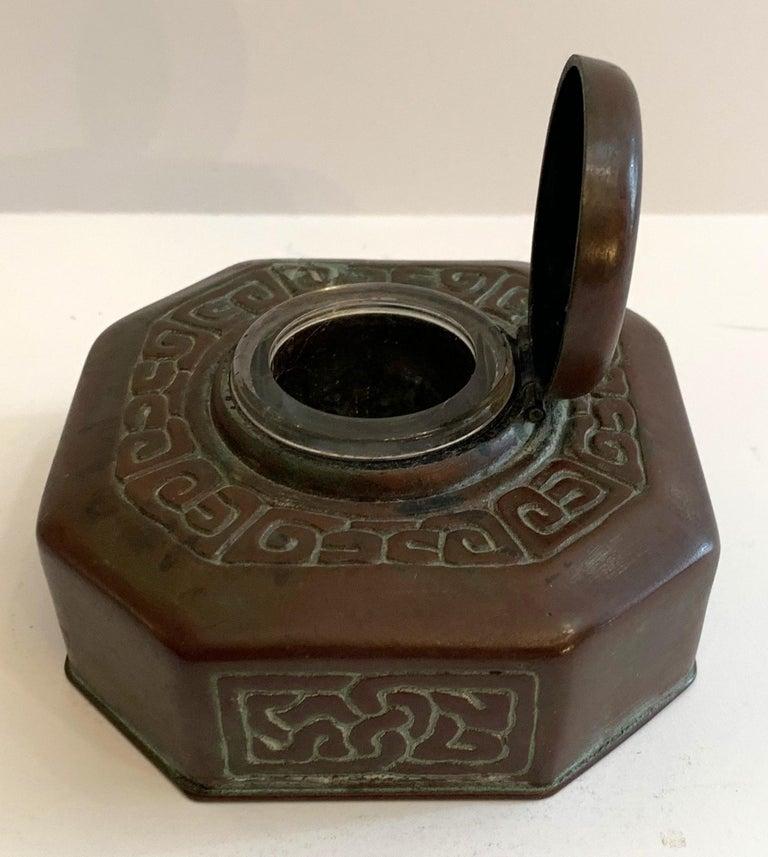 20th Century Tiffany Studios Bronze Doré Zodiac Pattern Inkwell For Sale