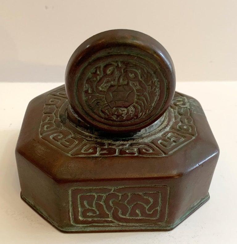 Tiffany Studios Bronze Doré Zodiac Pattern Inkwell For Sale 1