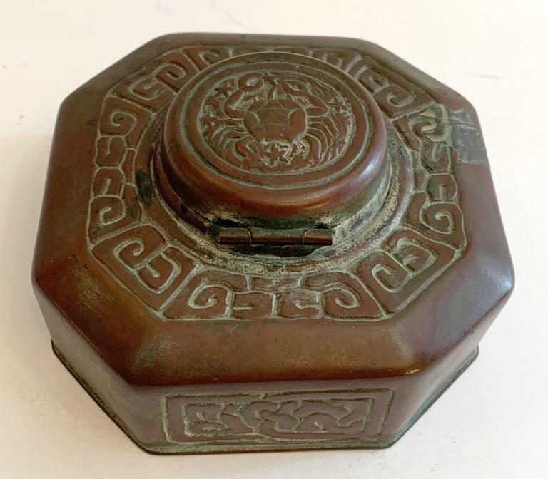 Tiffany Studios Bronze Doré Zodiac Pattern Inkwell For Sale 2