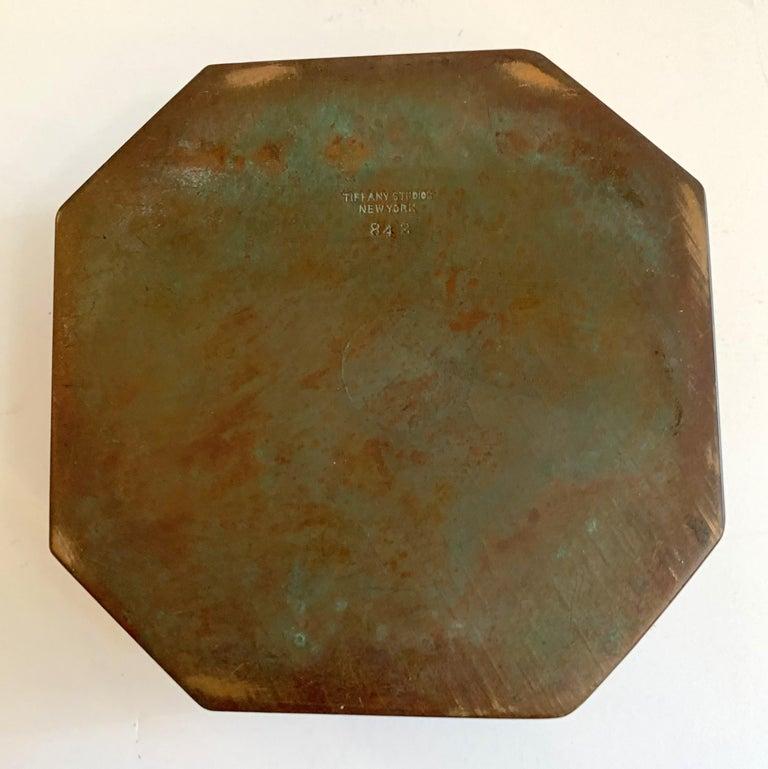 Tiffany Studios Bronze Doré Zodiac Pattern Inkwell For Sale 3