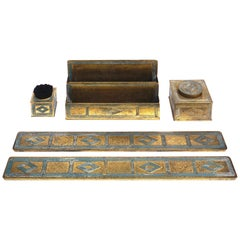 Tiffany Studios Bronze Graduate Desk Set