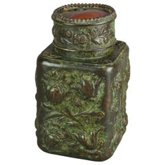 Bronze Repousse & Turtle Back Favrile Tobacco Jar Signed Tiffany, c1900