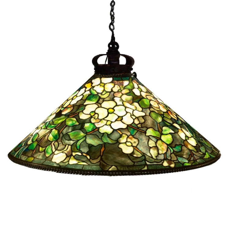Authentic Tiffany Studios hanging lamp circa 1905 Dogwood pattern with a 28 3/4