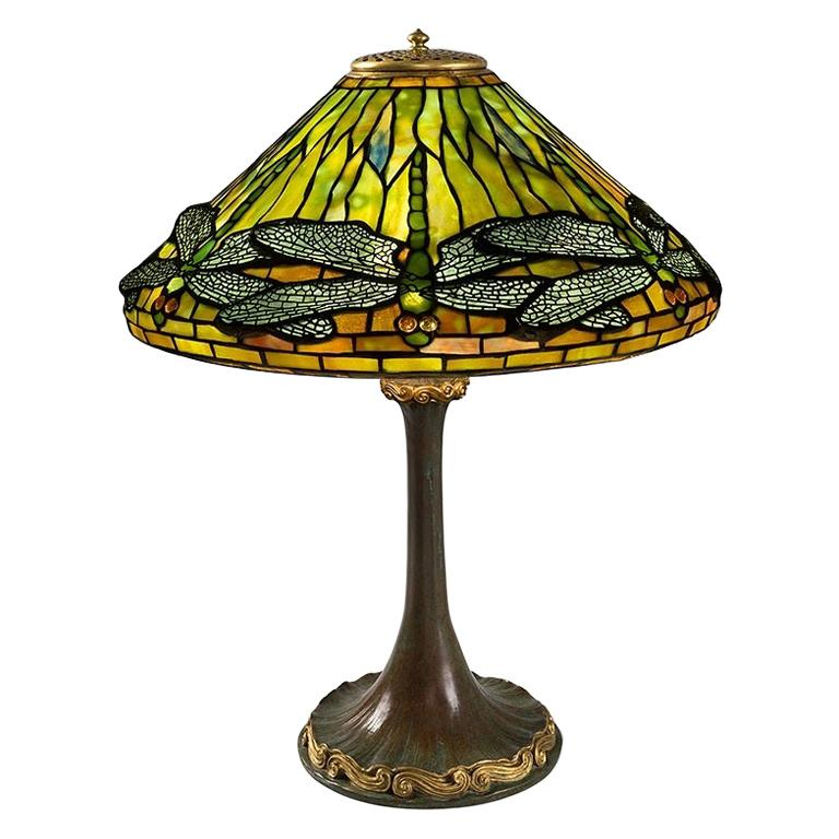 "Tiffany Studios ""Dragonfly"" Table Lamp For Sale"