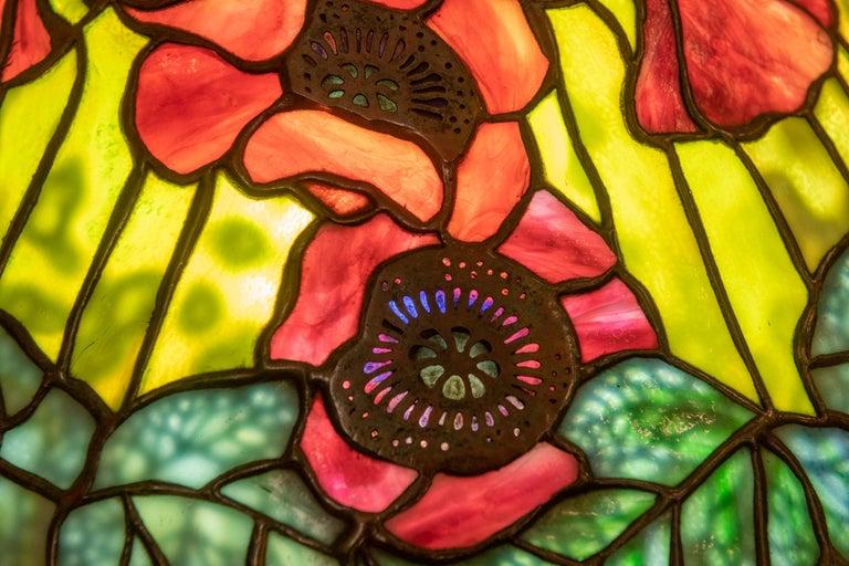 Art Nouveau Tiffany Studios Filagree Poppy Table Lamp For Sale
