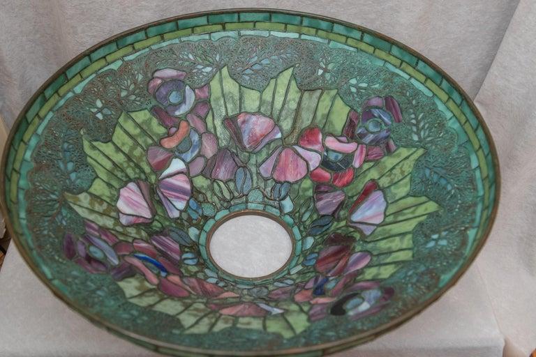 Bronze Tiffany Studios Filagree Poppy Table Lamp For Sale