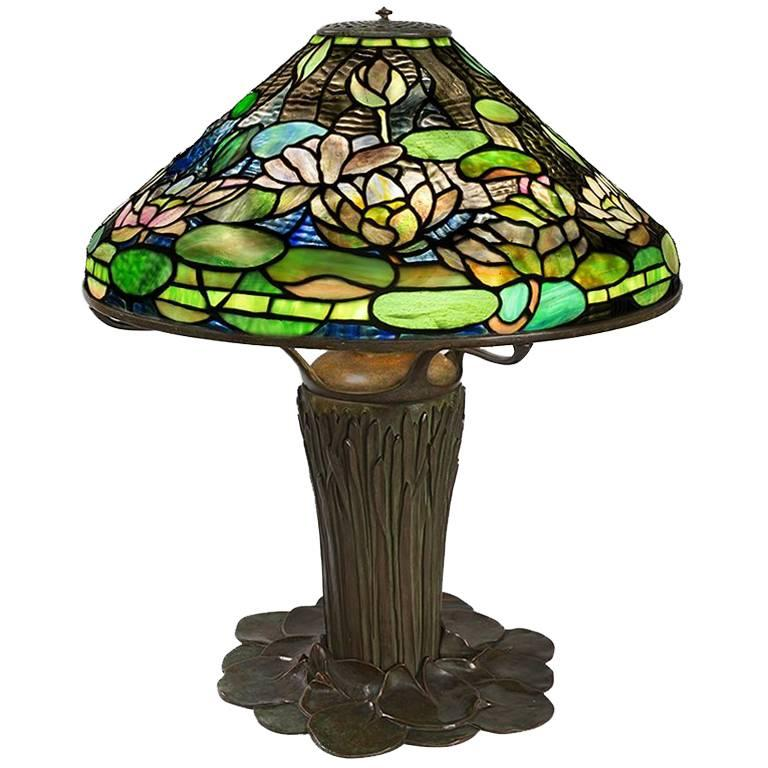 "Tiffany Studios ""Flowering Water Lily"" Table Lamp"