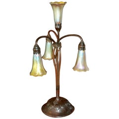 Tiffany Studios Four Lily Light Bronze Table Desk Lamp, circa 1900