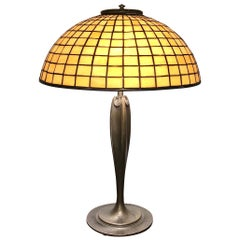 Tiffany Studios Geometric Stained Glass and Bronze Table Lamp