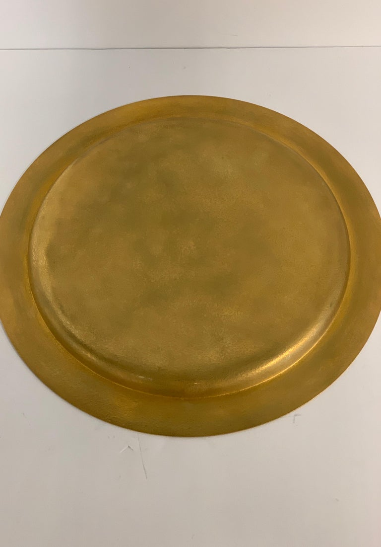 20th Century Tiffany Studios Gilt Bronze Abalone Charger For Sale
