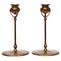 Tiffany Studios Gilt Bronze Puddle Candlesticks