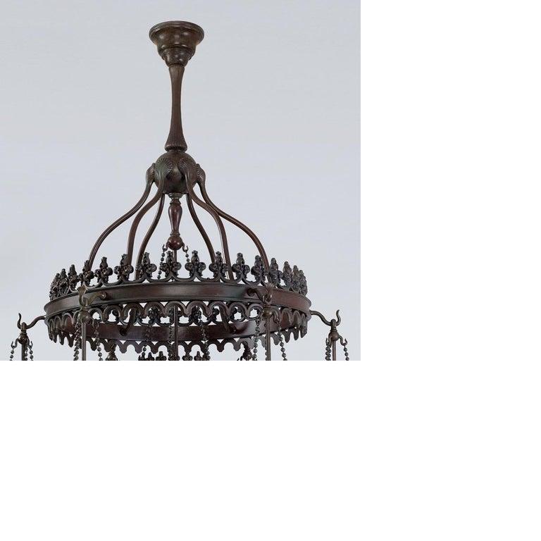 Art Nouveau Tiffany Studios Golden Stalactite Chandelier For Sale