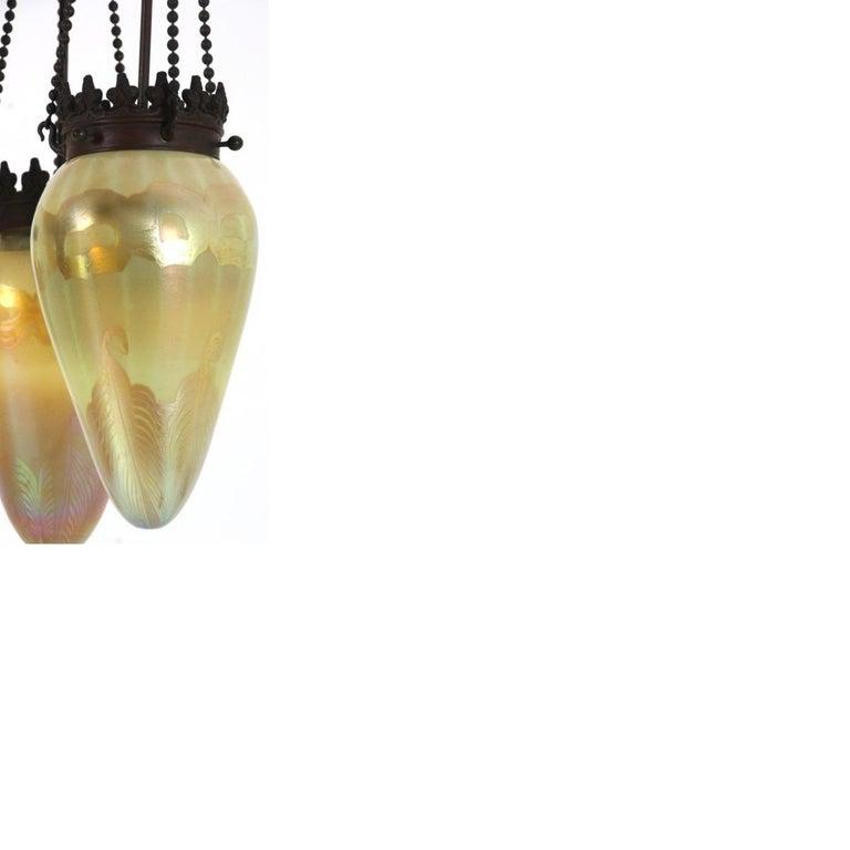 American Tiffany Studios Golden Stalactite Chandelier For Sale