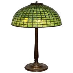 "Tiffany Studios Green ""Geometric"" Table Lamp"
