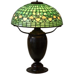 "Tiffany Studios Leaded Glass Patinated Bronze ""Vine Border"" Table Lamp"