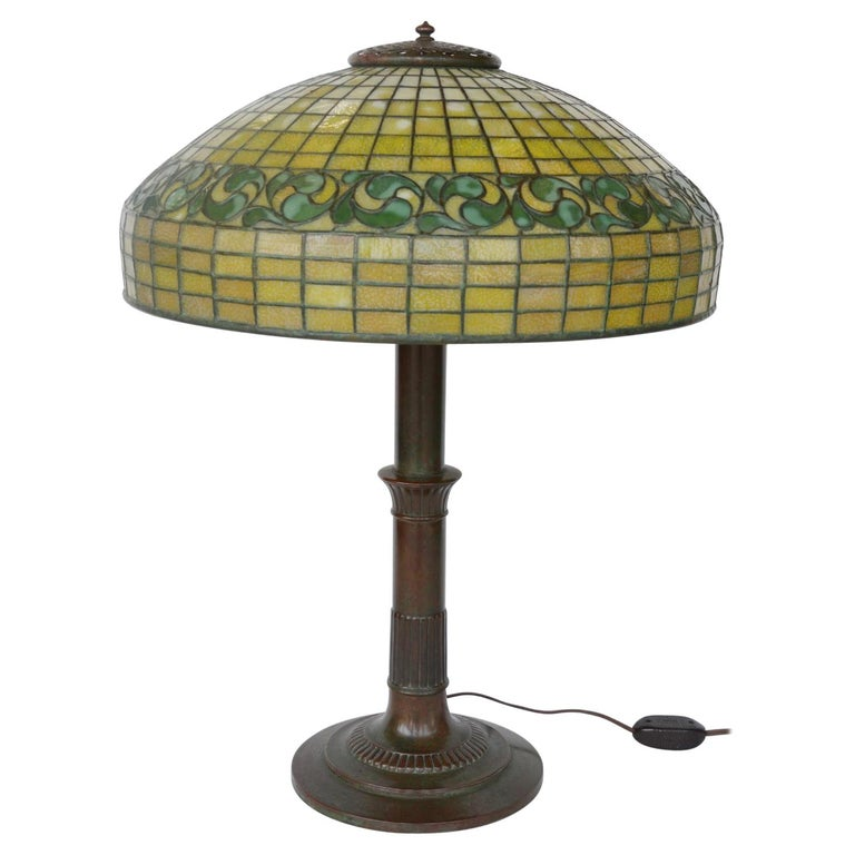 Tiffany Studios Lemon Leaf Table Lamp For Sale