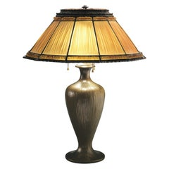 Tiffany Studios Linenfold and Gilt Bronze Table Lamp