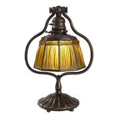 Tiffany Studios 'Linenfold' Favrile Glass and Bronze Desk Lamp