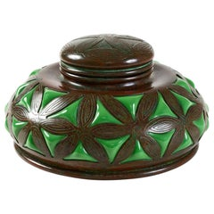 Tiffany Studios New York Bronze and Green Glass Inkwell