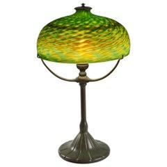 "Tiffany Studios New York ""Damascene"" Glass Three-Arm Table Lamp"