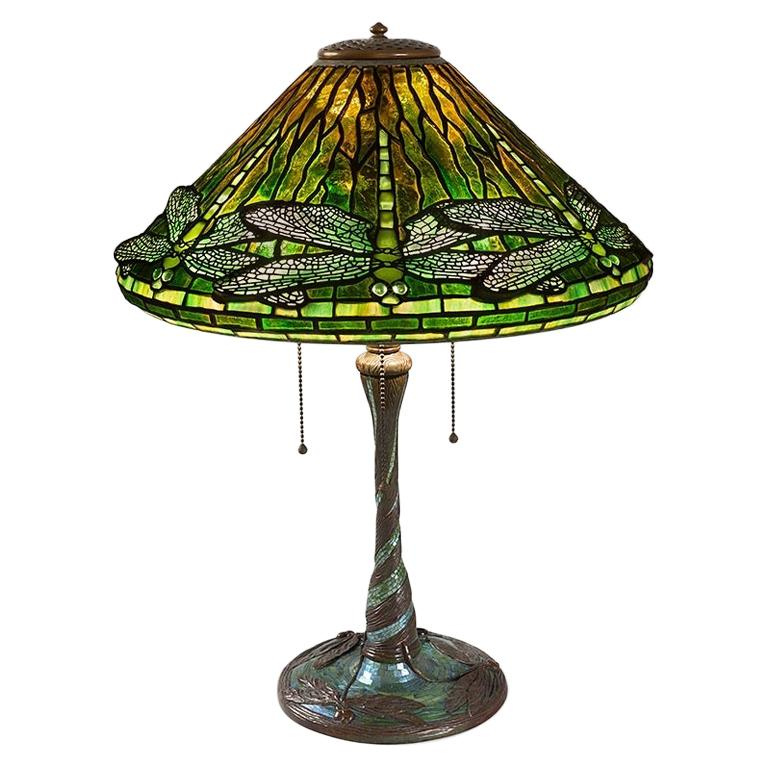 """Tiffany Studios New York """"Dragonfly"""" Table Lamp For Sale"""