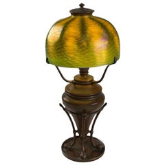 Tiffany Studios New York Favrile Glass and Bronze Desk Lamp
