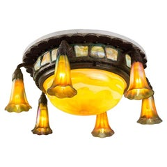 """Tiffany Studios New York Favrile Glass """"Lily"""" Ceiling Fixture"""